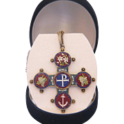 Antique Roman Micro Mosaic cross pendant set in silver,19th century