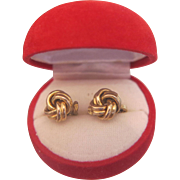 Vintage ear clips in knot design, gold plate, ca. 1950
