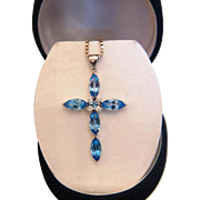 Vintage Blue Topaz and Diamond cross pendant, 14K white gold, ca. 1960