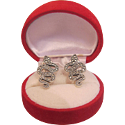 Italian snake ear clips with Marcasites, silver 925, ca. 1970