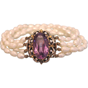 Antique Amethyst and Fresh Water pearl bracelet, gilt silver, 19th century
