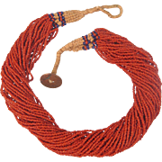 Antique  Coral bead necklace, 39 strands, ca. 1910