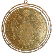 986 k yellow gold Four Ducats coin pendant, ca. 1960