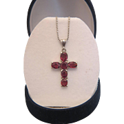 Pink Tourmaline cross pendant, set in silver, ca. 1960