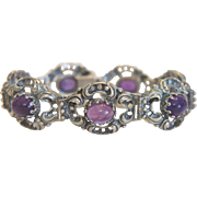 Antique silver bracelet with seven Amethyst cabochons, 19th century