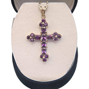 Antique Amethyst cross pendant,  silver 800, 19th century
