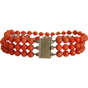 Coral  triple strand bead bracelet, 14k yellow gold closure, ca. 1940
