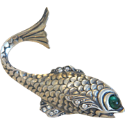 Antique silver fish brooch, ca. 1900