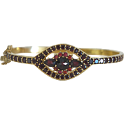 Bangle with Bohemian Garnets set in gilt silver,early 20th century