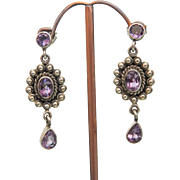 Vintage Amethyst earrings, silver 925, ca.1930