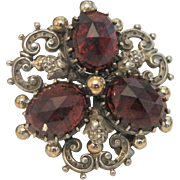 Antique Bohemian Garnet clover leaf  brooch, silver 800, early 19th century