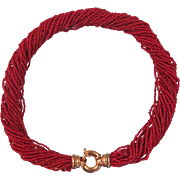 Vintage natural oxblood Coral bead necklace, 25 strands, ca. 1960