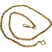 Antique watch chain/ necklace, 14k yellow gold, 19th century