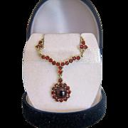 Garnet necklace , 14k yellow gold, ca. 1960