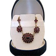 Antique Bohemian Garnet necklace, gilt metal and silver 800, 19th century