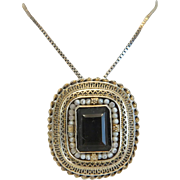 Antique brown Topaz and silver pendant /brooch, 19th century