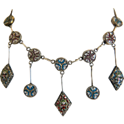 Victorian Micro Mosaic necklace, silver 800, 19th century