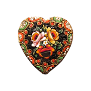 Antique Micro Mosaic brooch in the shape of a heart, 19th century