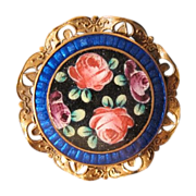 SALE Antique Enamel brooch with roses and leaves, 19th century