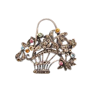 Lovely antique  silver brooch crafted as a flower basket, 19th century