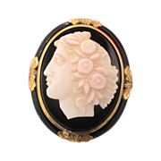 SOLD Art Nouveau shell Cameo brooch dated at about 1900
