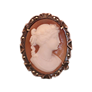 Antique Shell Cameo brooch/pendant set in a silver 800 with Marcasites ,19th century