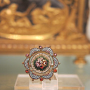 Lovely  Micro Mosaic and silver brooch depicting flowers, 19th century