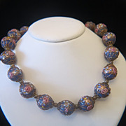 Vintage Murano Venetian Wedding Cake Art Glass Bead necklace , dated at about 1940