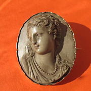 SOLD Antique Lava Cameo depicting the profile of a lady from ancient Rome ,fourteen karat yell