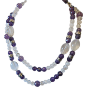 Art Nouveau Amethyst and Rock Crystal bead necklace wit silver spacer, ca. 1900
