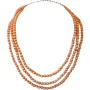 Angel Skin Coral bead necklace ,mid  20th century