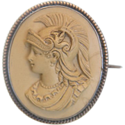 Antique oval Lava Cameo depicting the Goddess Minerva, 19th century