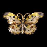 Art Nouveau butterfly  Enamel brooch ,silver 925,dated ca.1910