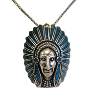 Vintage Native American silver pendant, first half 20th century