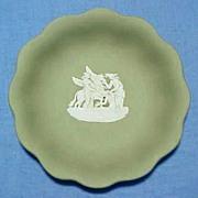 WEDGWOOD JASPERWARE Sage Green Scalloped Edge Dish Bowl Tray