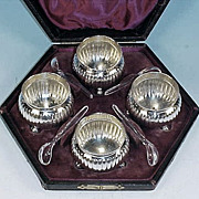 Antique Silver Plate Footed Open Salts in Presentation Box Set of 4 by THOMAS LATHAM ...