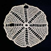 "Vintage CROCHET LACE Round DOILY 8"" Diameter Table Linen"