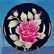 LEFTON China Floral Saucer Black / Rose - Occupied Japan