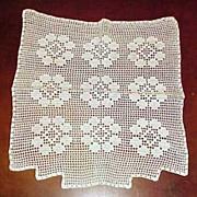 Vintage TABLE RUNNER Topper DRESSER SCARF Hand Crochet Floral Lace Soft White