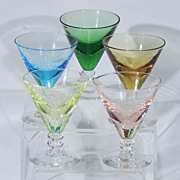 SOLD Vintage Hand Blown Crystal Glass Stemmed SHERBET CHAMPAGNE CORDIAL Glasses Set of Five