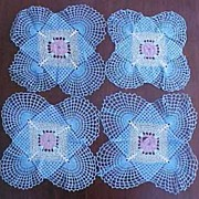 Vintage Hand Crochet Lace FLORAL ROSE Table Doily Set of Four (4) Square BLUE