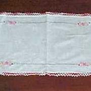 Vintage Handmade Crochet Lace & Needlepoint on White Cotton Linen TABLE RUNNER Dresser Scarf 3