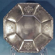 """Victorian Style Silverplate OCTAGON FOOTED TRAY 10"""" Homan Plate"""