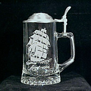 Vintage CUI Lidded GLASS Beer Stein - Nautical Stein Series - ARIEL / Old Spice