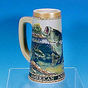 """SOLD Vintage American Angler Series """"Large Mouth Bass"""" Beer Stein Tankard Mug The Ca"""