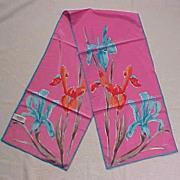 SOLD Vintage Retro VERA NEUMANN Floral Iris Scarf PINK