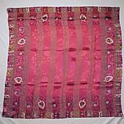 SOLD Vintage OSCAR DE LA RENTA 100% Silk Floral Scarf - Burgundy Jacquard Pattern