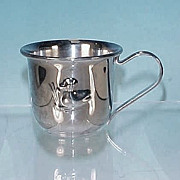 Vintage Silver Plate Baby or Christening Cup with Repousse Duck