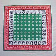 "SOLD Vintage VERA NEUMANN 100% Cotton Scarf Green, Red, White and Navy Blue 26"" x 25"""
