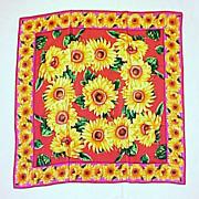 SOLD Vintage ADRIENNE VITTADINI 100% Silk Hot Pink & Sunflower Scarf